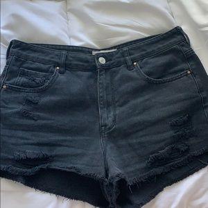 Pac sun high rise denim festival shorts black